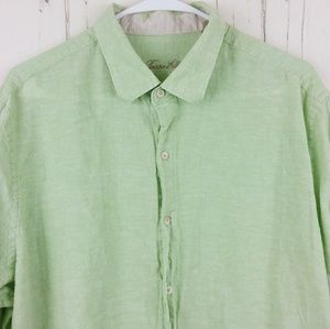 Tasso Elba Size XL Button Shirt Casual Green Linen